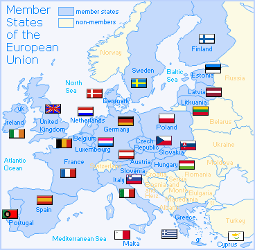 European Union Countries (full list, Europe map)